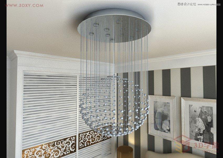 3DMAX实例教程 制作玻璃风格水晶灯材质图片