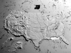 美国地形图 STL文件下载(3D打印模型)