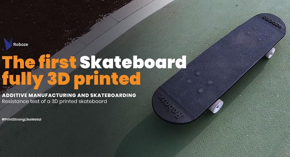 ROBOZE打造出全3D打印滑板,包括轮胎和轴承也是3D打印的